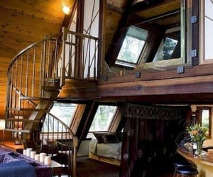 cabin, decor, and decorating image