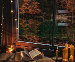 books, candles, and october image