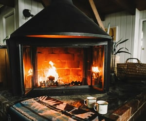 fireplace, cabin, and cozy image