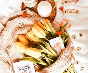 bed, valentines, and yellow image