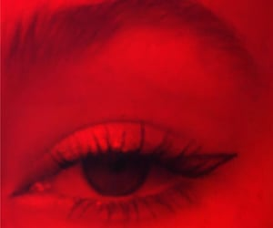 beauty, graphic liner, and black and red image