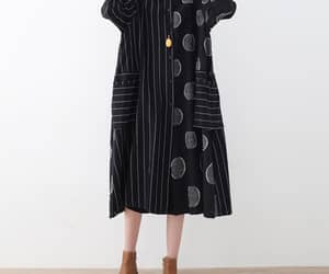 shirt collar dress, women everyday clothes, and black linen midi dress image