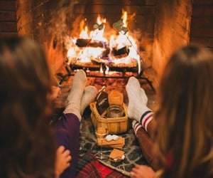 autumn, fireplace, and chill image