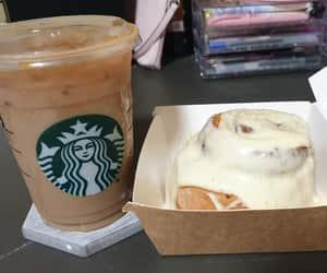 coffee, cinammon bun, and starbucks image