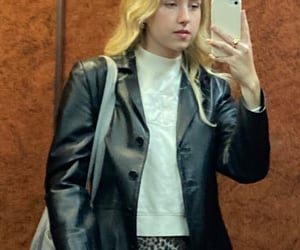 blonde, leather jacket, and outfit image