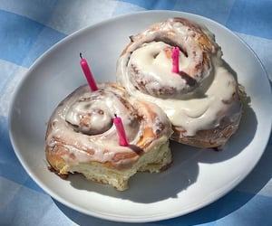 birthday, candles, and cinnamon roll image