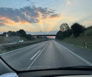 car, driving, and sunrise image