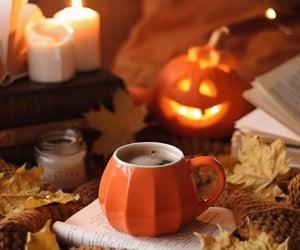 autumn, candle, and orange image