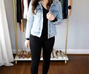 denim jacket, outfit, and black outfit image