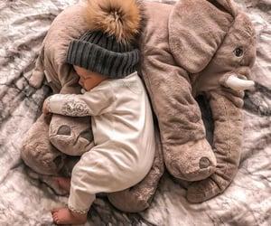 baby, elephant, and sleep image
