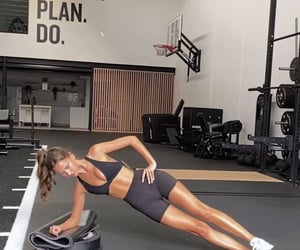 gym, workout, and side plank image