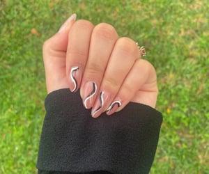 black, nails, and almond nails image