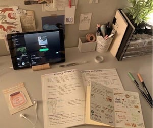 desk, music, and notebook image