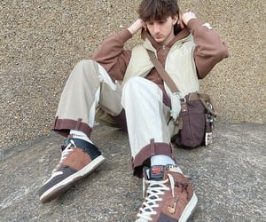 brown, mens fashion, and sneakers image