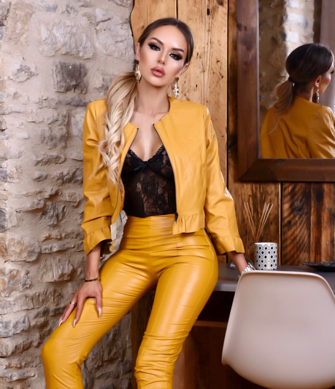 blonde, latex, and style image