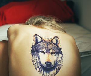 hair, tattoo, and wolf image