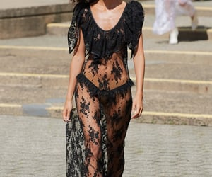 black, lace, and dress image