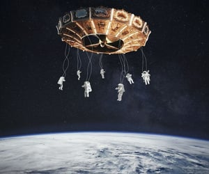 astronauts, carousel, and cosmos image