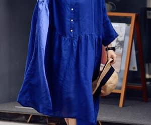 blue dress, prom dress, and summer linen dress image