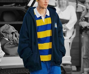 blue, yellow, and justin bieber image