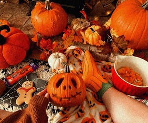 autumn, candy, and pumpkin image