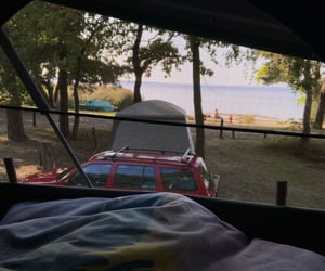 beach, camping, and view image