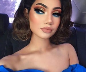blue, gold, and makeup image