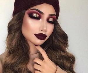 burgundy, makeup, and colorful image