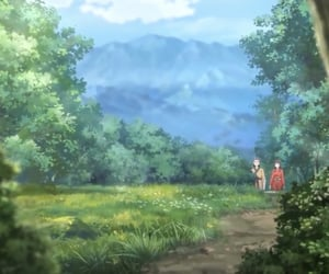 anime, mountain, and scenery image