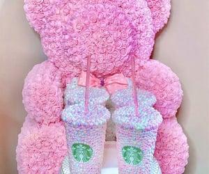 bear, pink, and starbucks image