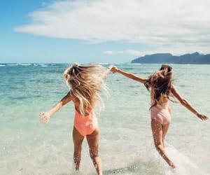 beach, girls, and sea image