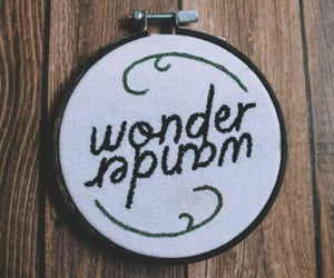 embroidery, lettering, and embroidery hoop image