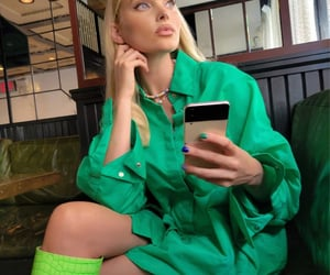 blonde, elegant, and green image