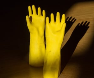 gloves, yellow, and still-life image