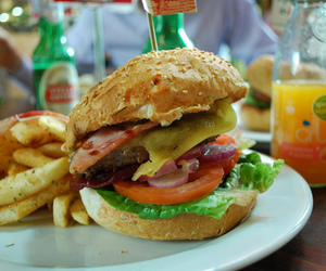 food, burger, and French Fries image