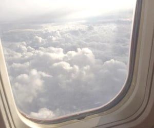aeroplane, clouds, and cloudy day image