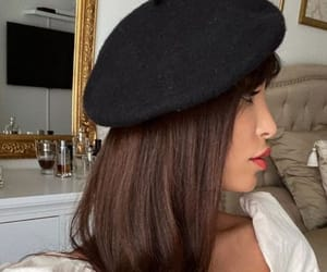beauty, beret, and brunette image