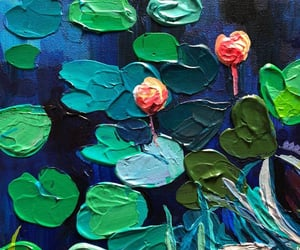 art, paintings, and lilypads image