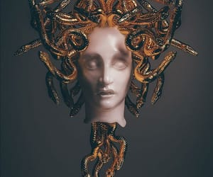 gold, mythology, and gorgon image