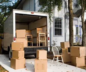 cardboard boxes, packing boxes, and house removal image