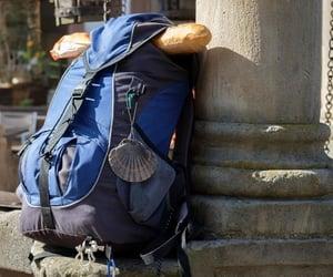 backpack, camino de santiago, and bread image