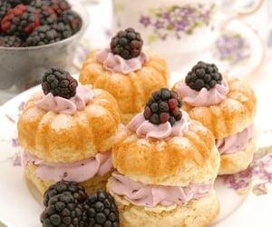 afternoon tea, sweets, and blackberries image