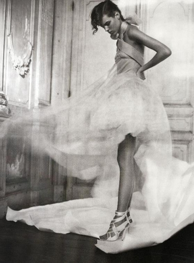 black and white, dress, and model image
