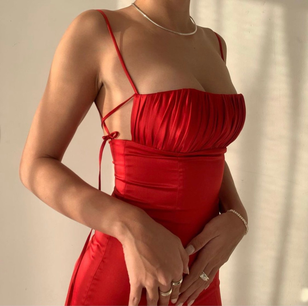 dress, red, and silk image