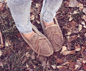 shoes, jeans, and leaves image