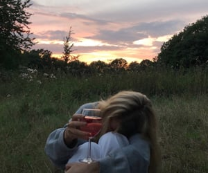 aesthetic, girl, and sunset image