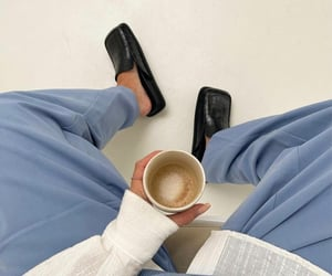 black shoes, coffee, and white shirt image