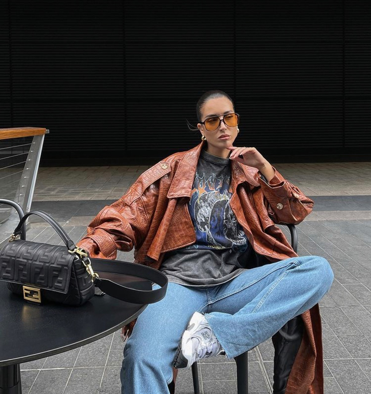 street style, everyday look, and brown coat image