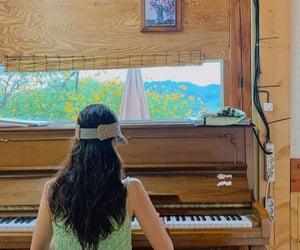 girl, home, and music image