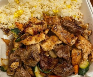 food, ham, and rice image